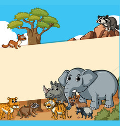 paper template with wild animals in the field vector image