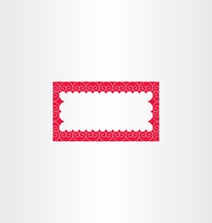 red decorative rectangle frame vector image vector image