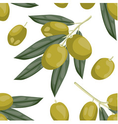 seamless olive pattern tile green olive vegetable vector image