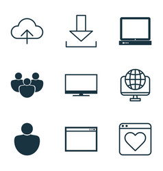 Set of 9 world wide web icons includes followed vector
