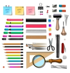 Set of office supplies on white background vector image vector image