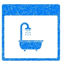 Shower bath calendar page grainy texture icon vector