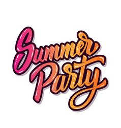 Summer party hand drawn lettering phrase isolated vector