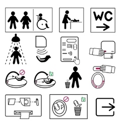 Toilet and bathroom signs for public places vector image
