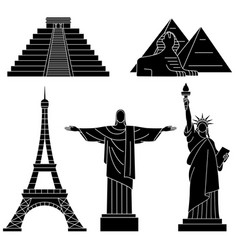 world landmarks eiffel tower statue of liberty vector image vector image