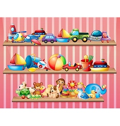Shelves full of different toys vector