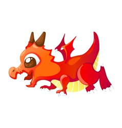 Cute cartoon red dragon vector image