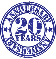 Grunge 20 years anniversary rubber stamp vector image