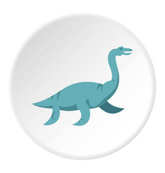 Blue elasmosaurine dinosaur icon circle vector