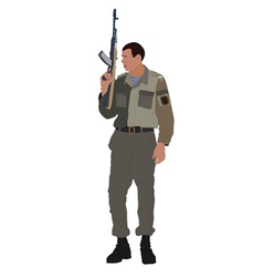 Soldier holding machine gun vector