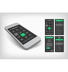 3d visualization of green ui design vector
