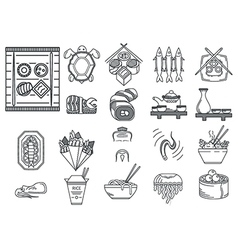 Japanese food black line icons vector