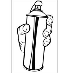 Hand holding spray paint vector
