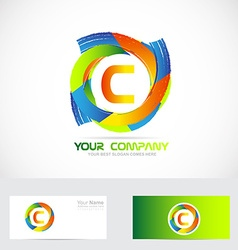 Letter c logo colors vector