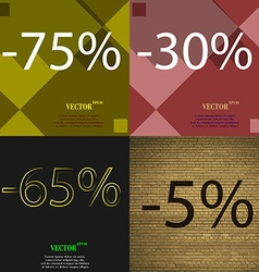 30 65 5 icon set of percent discount on abstract vector