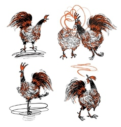 Roosters and a hen vector