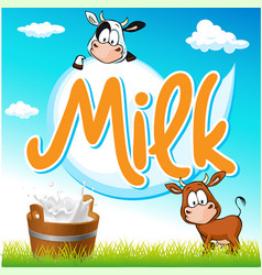 Milk tag with cow and pail on green grass vector