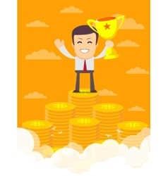 Man on the huge money staircase vector
