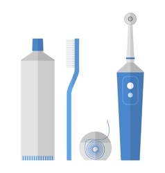 Oral hygiene set of toothbrush dental floss vector