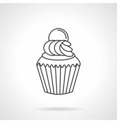 Cream cupcake flat line icon vector
