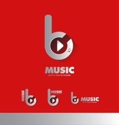 Music beats play buton logo icon vector