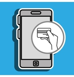 Smartphone and credit card hand isolated icon vector