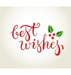Best Wishes text with holly leaves - Christmas vector image vector image