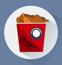 Bucket of chicken legs colorful round icon vector