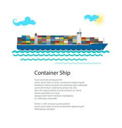 Cargo container ship poster vector