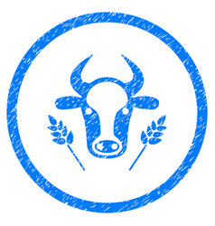 Cow and wheat agriculture rounded grainy icon vector