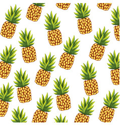 Delicious and exotic pineapple fruits background vector