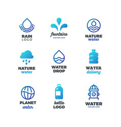 drinking symbols and water logos eco ocean vector image