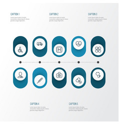Drug outline icons set collection of hear vector