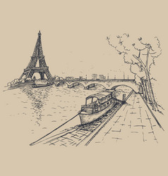 eiffel tower in sketch style hand drawn vector image