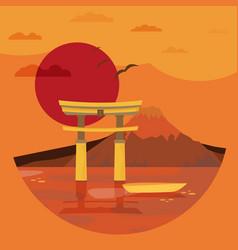 flat design landscape of japan vector image vector image