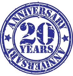 Grunge 20 years anniversary rubber stamp vector