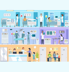 horizontal set of medical services in hospital vector image