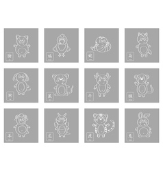 Icon set with chinese zodiac signs vector