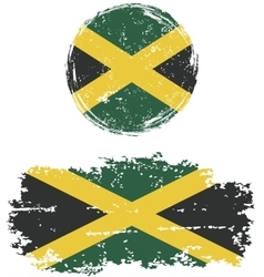 Jamaican round and square grunge flags vector