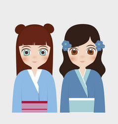 japanese girls concept vector image