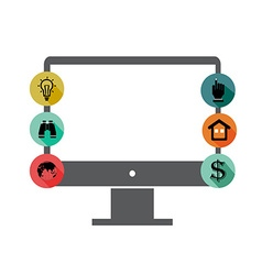 Monitor and application icons vector image vector image