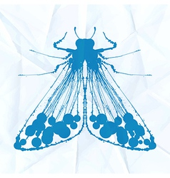 Moth on crumpled paper vector image vector image