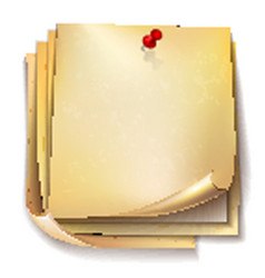 note papers with red pin on white background vector image vector image