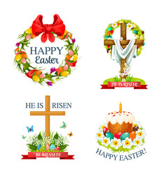 Paschal easter isolated icons set vector