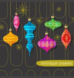 Retro christmas tree ornaments set vector