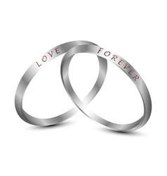 Silver wedding rings engraved with the text love vector