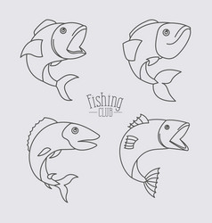 Sketch silhouette types fish and logo text fishing vector