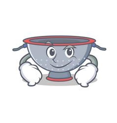 Smirking colander utensil character cartoon vector