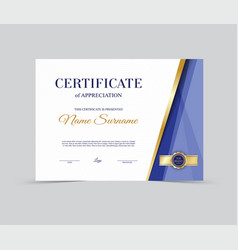 template certificate of appreciation vector image vector image
