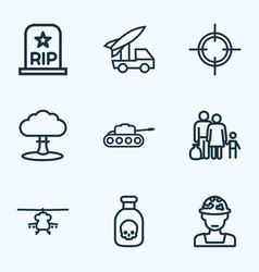 Warfare outline icons set collection of officer vector